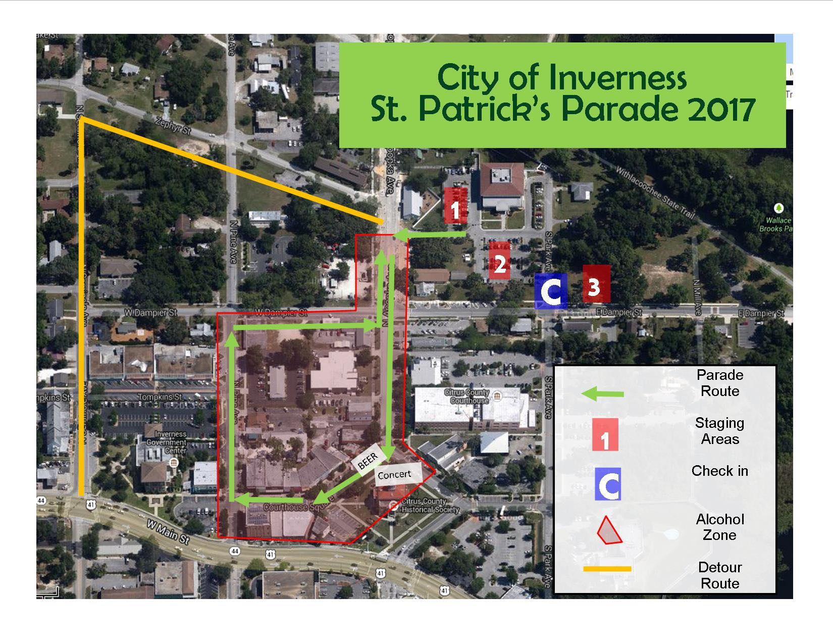St Paddy Parade Map