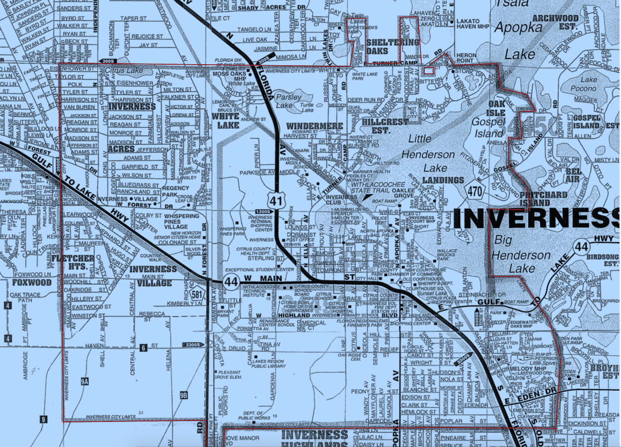 Inverness City Limits Inverness FL Official Website - Map of florida city